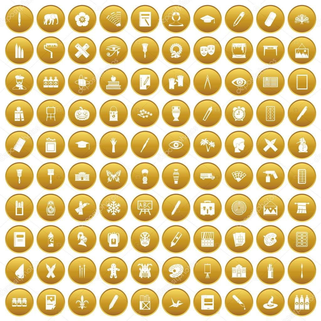 100 paint school icons set gold