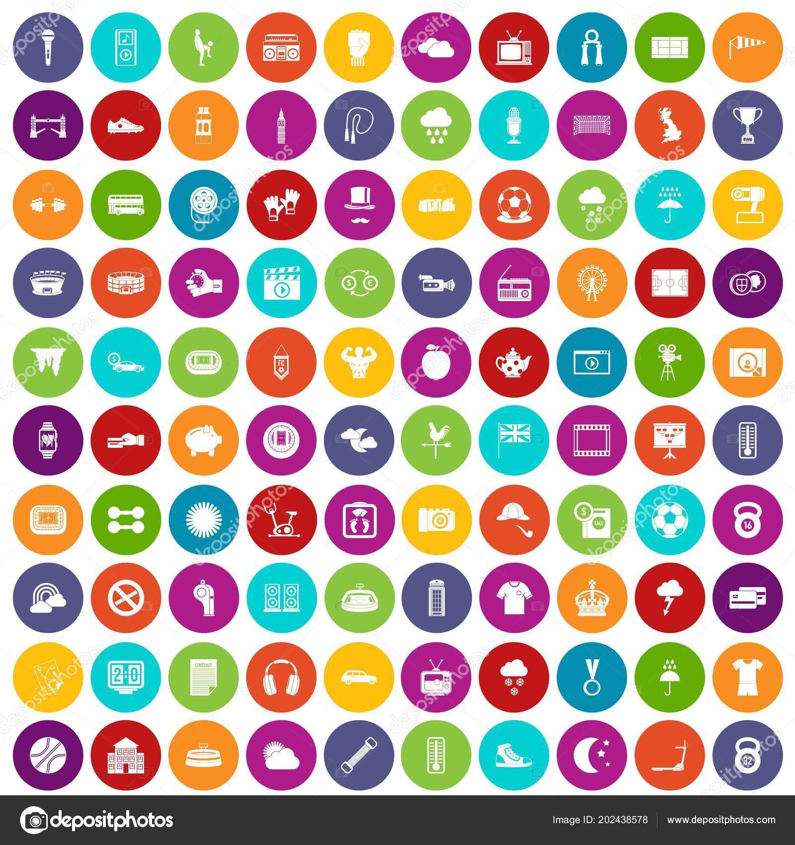 100 Fussball Ikonen Festlegen Farbe Stockvektor