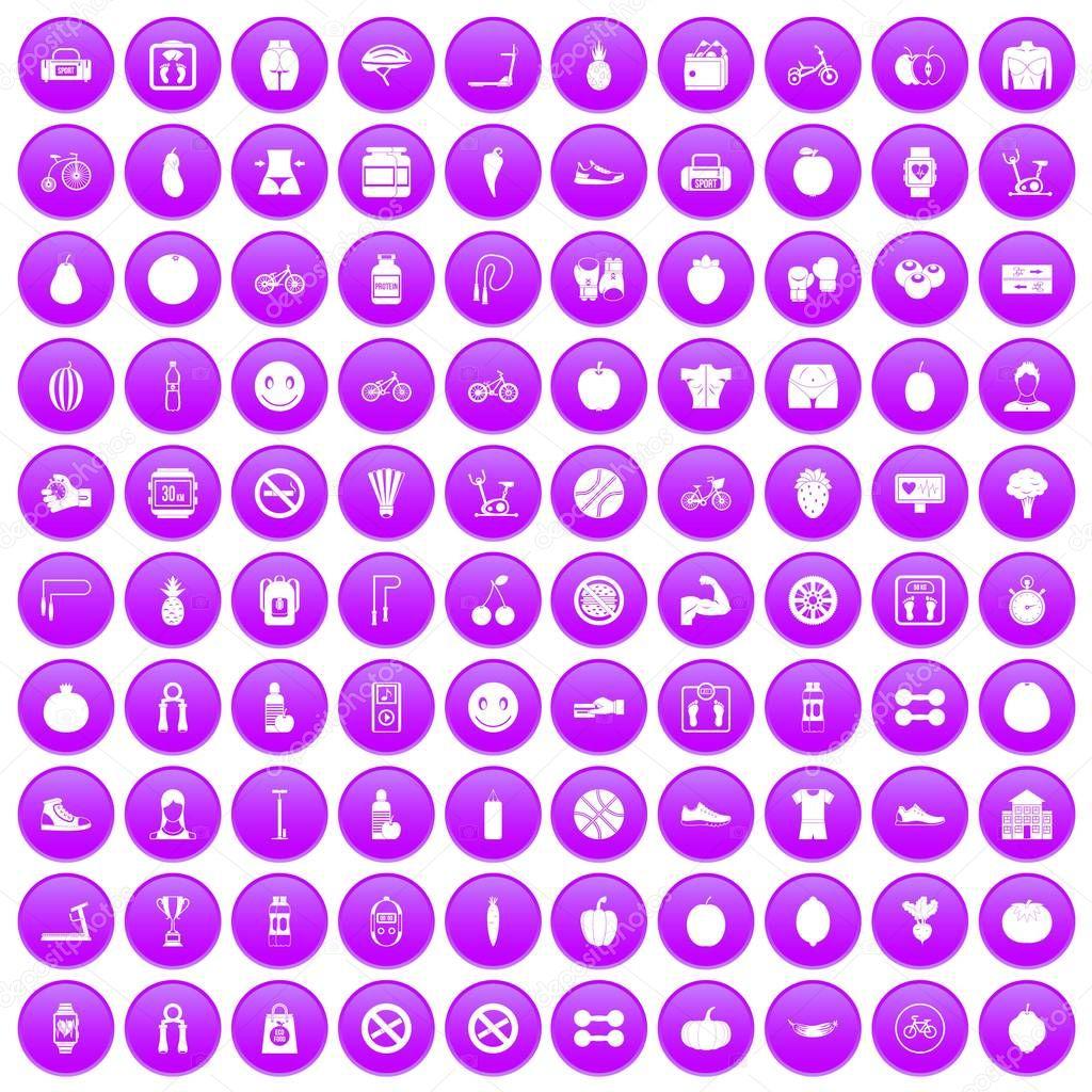 100 fitness icons set purple