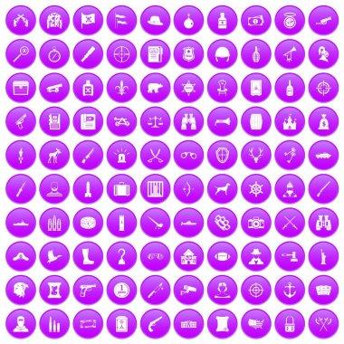100 guns icons set purple