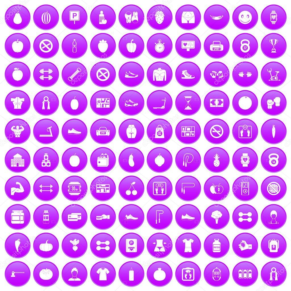 100 gym icons set purple