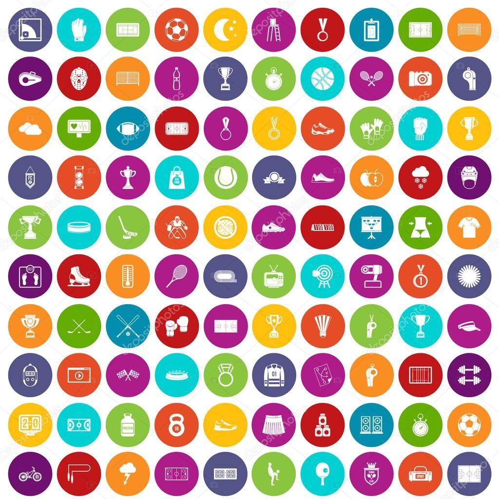 100 stadium icons set color