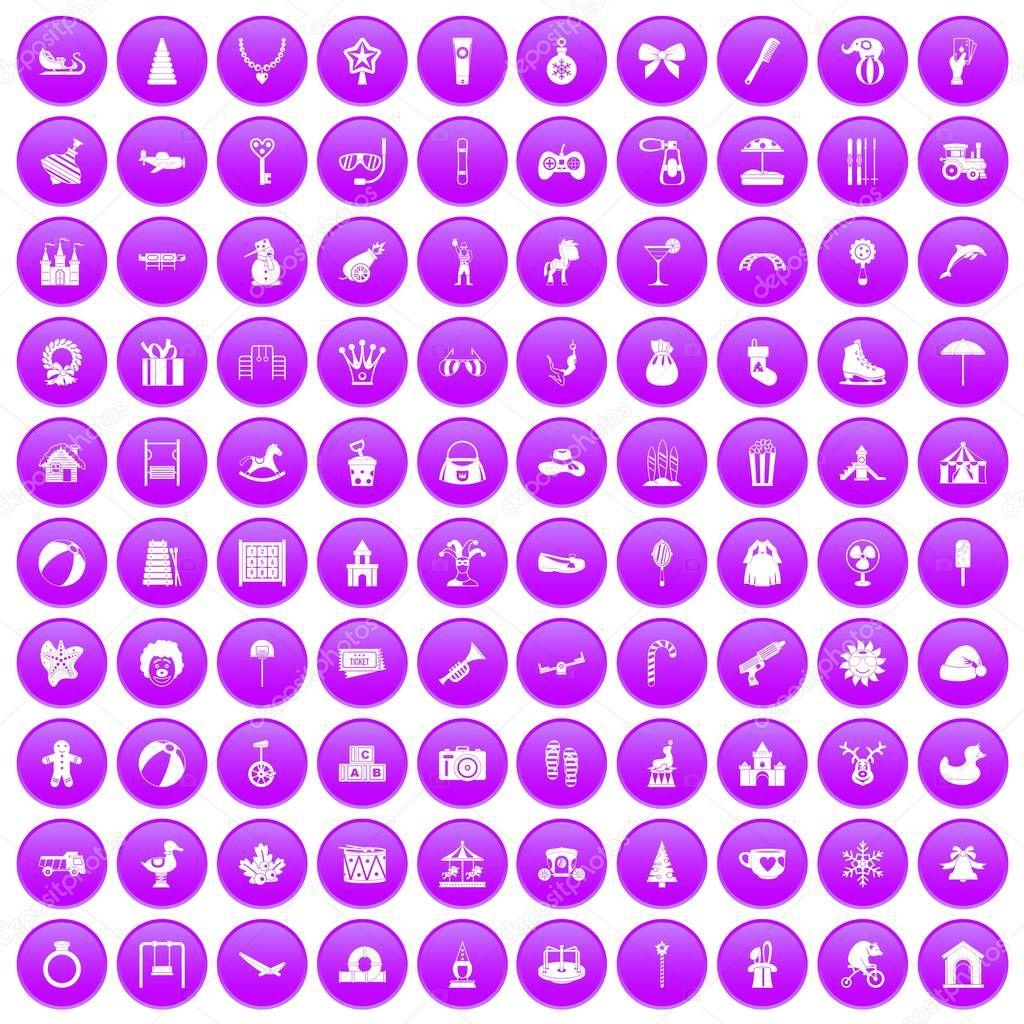 100 happy childhood icons set purple