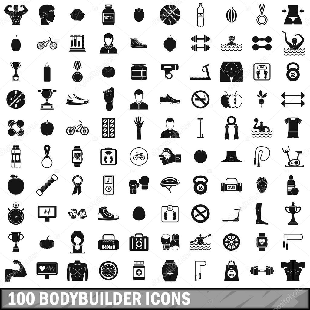 100 bodybuilder icons set, simple style