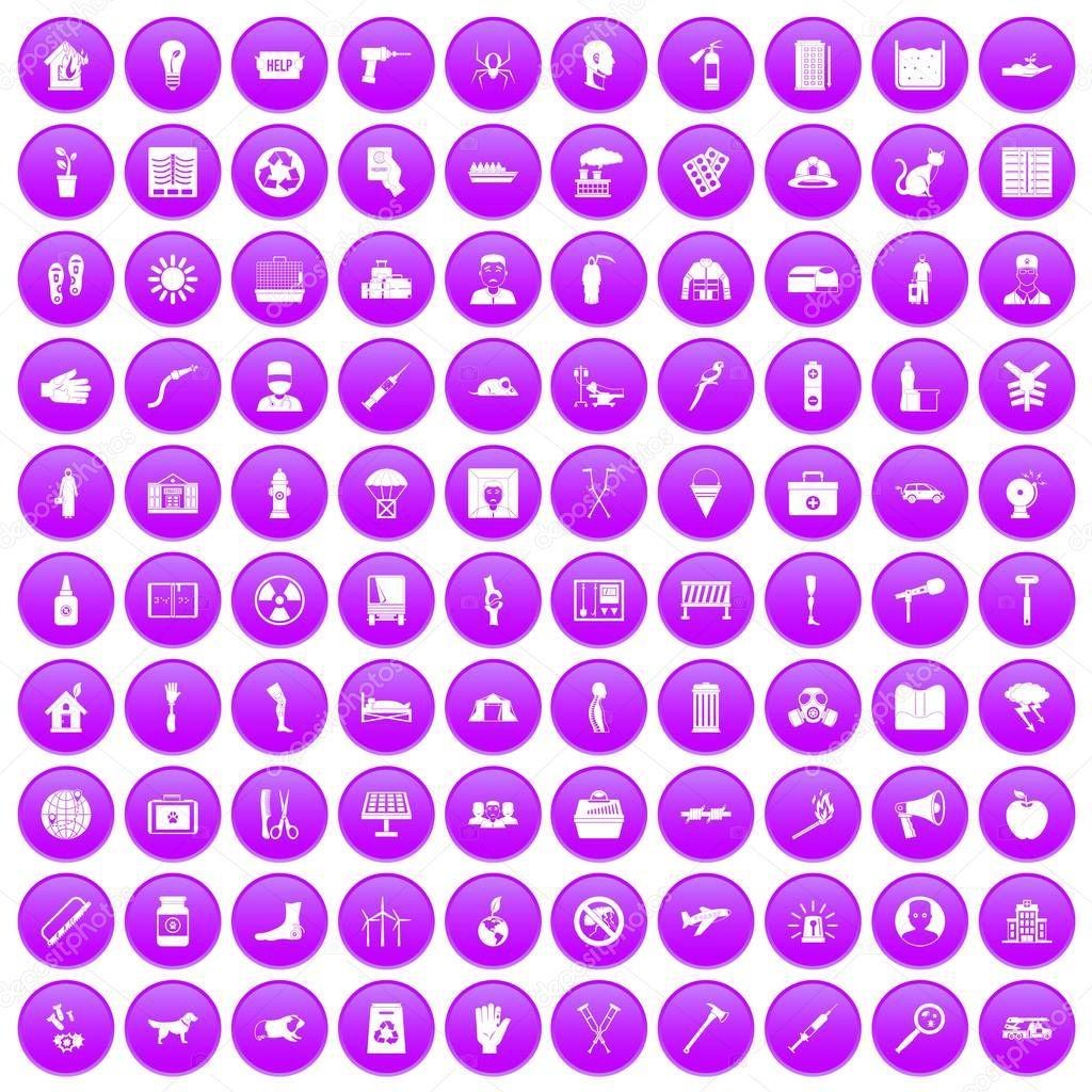 100 help icons set purple