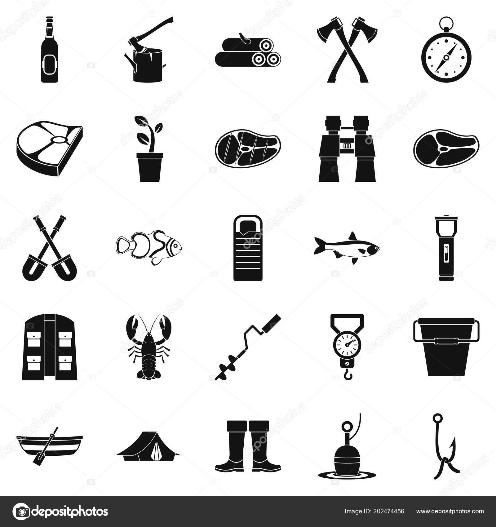 Winter Fishing Icons Set Simple Style Vektornoe Izobrazhenie