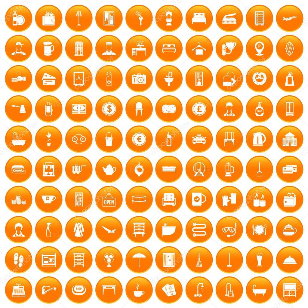 100 inn icons set orange