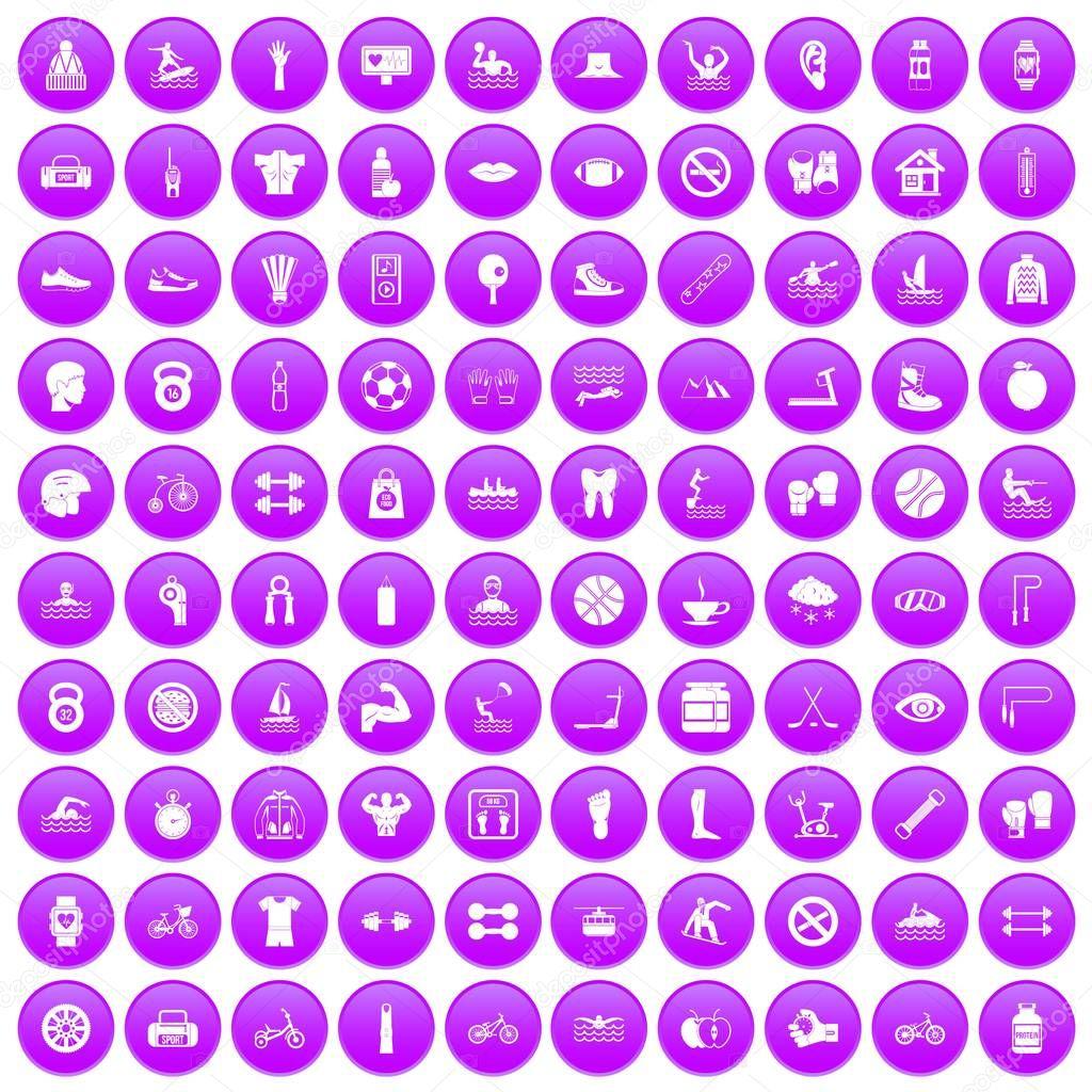 100 men health icons set purple
