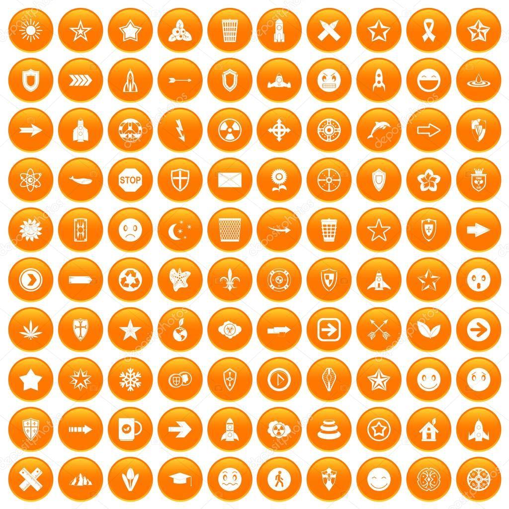 100 logotype icons set orange