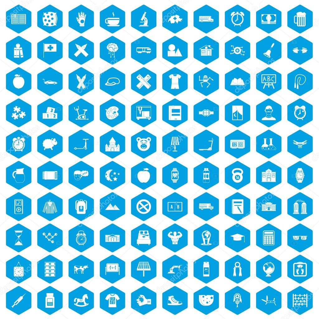 100 alarm clock icons set blue
