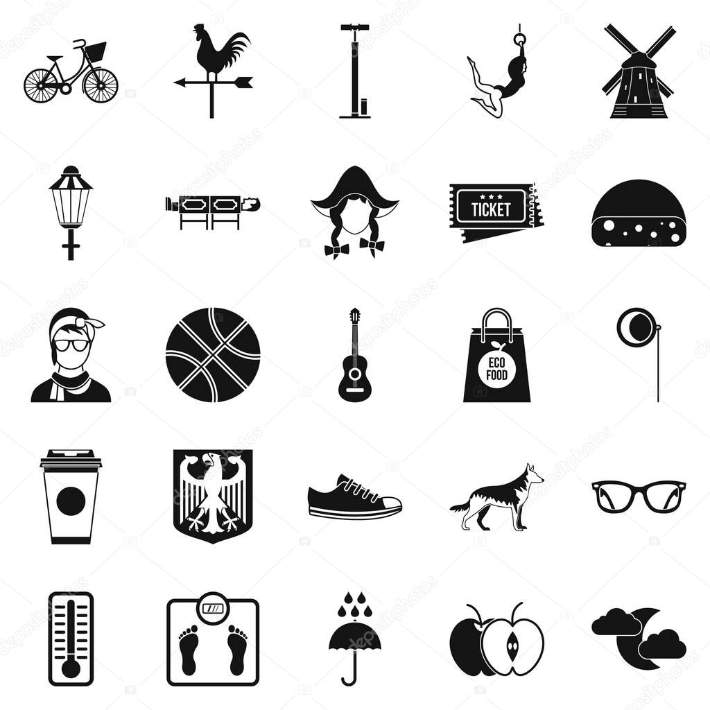 Rural icons set, simple style