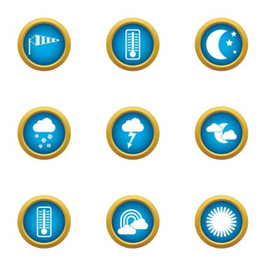 Weather widget icons set. Flat set of 9 weather widget vector icons for web isolated on white background clip art vector