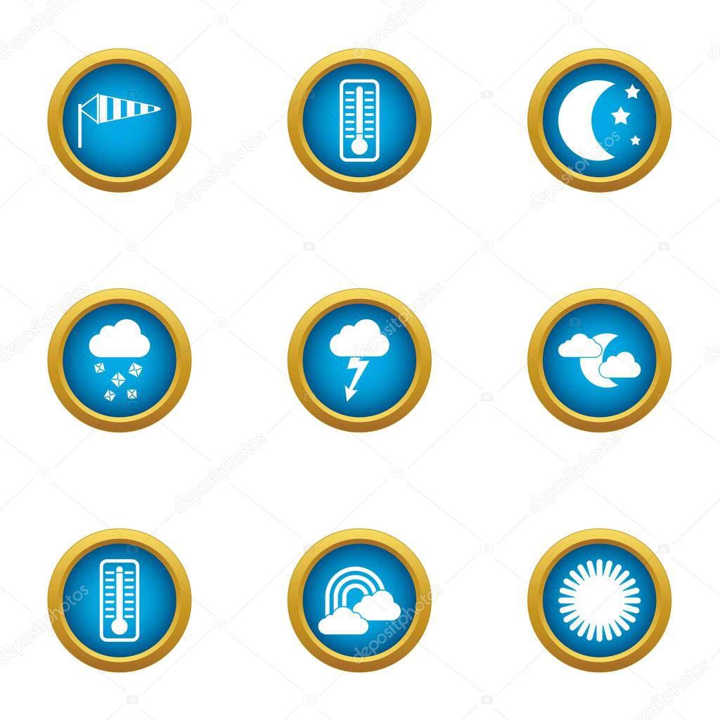 Weather widget icons set, flat style