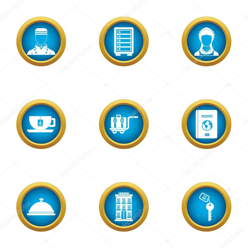 Hotel business icons set. Flat set of 9 hotel business vector icons for web isolated on white background