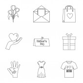 Fotografie Happy mothers day icon set, outline style