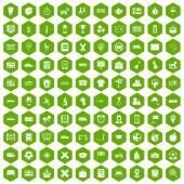 Fotografie 100 bus icons hexagon green