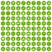 Fotografie 100 happy childhood icons hexagon green