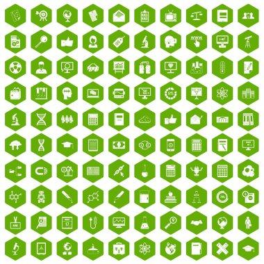 100 analytics icons hexagon green