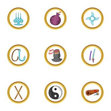 Asian ninja icon set, cartoon style