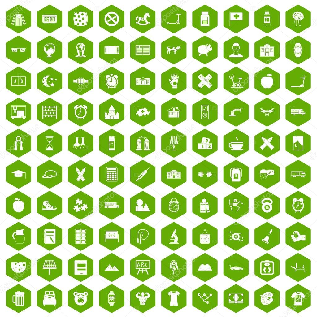 100 alarm clock icons hexagon green