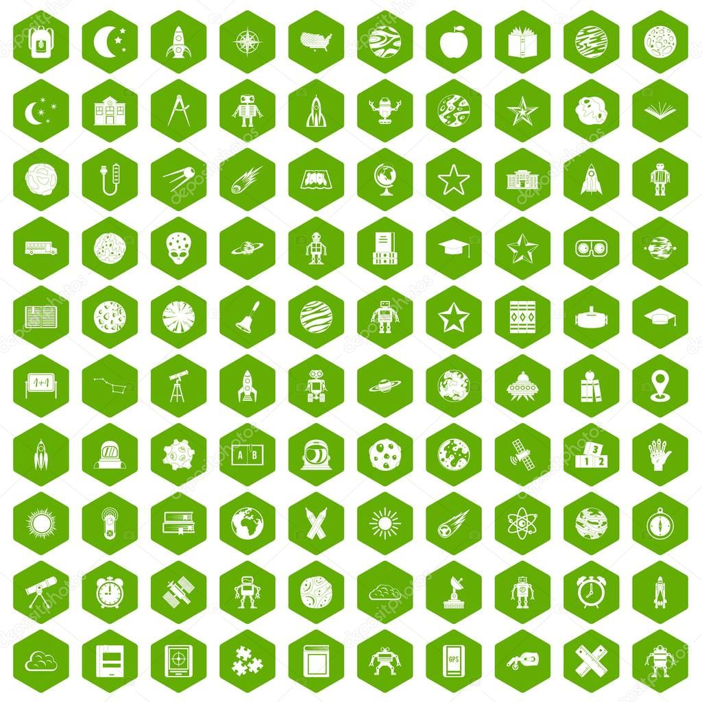 100 astronomy icons hexagon green