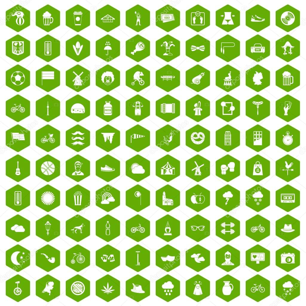 100 bicycle icons hexagon green