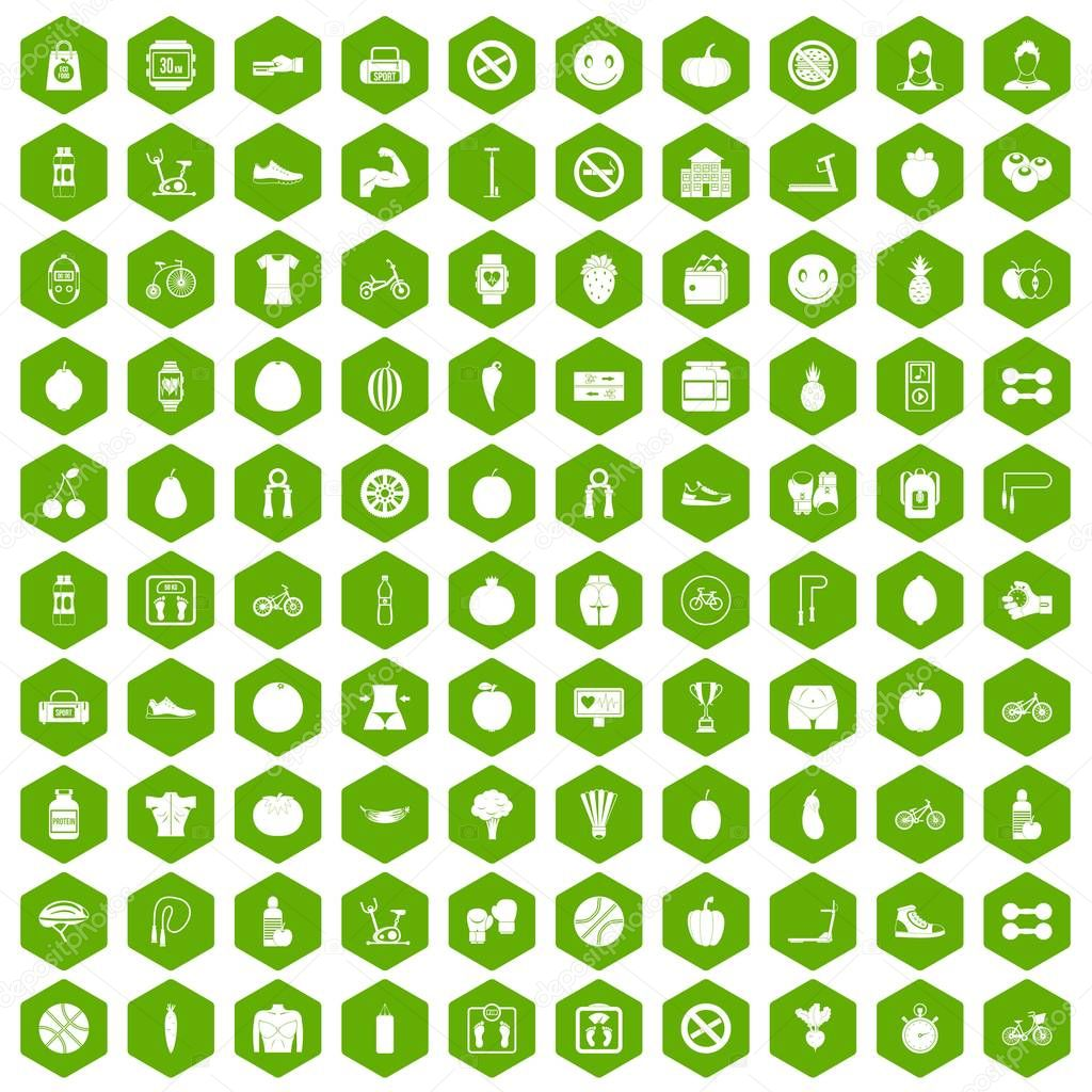 100 fitness icons hexagon green