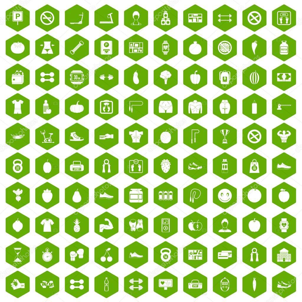 100 gym icons hexagon green