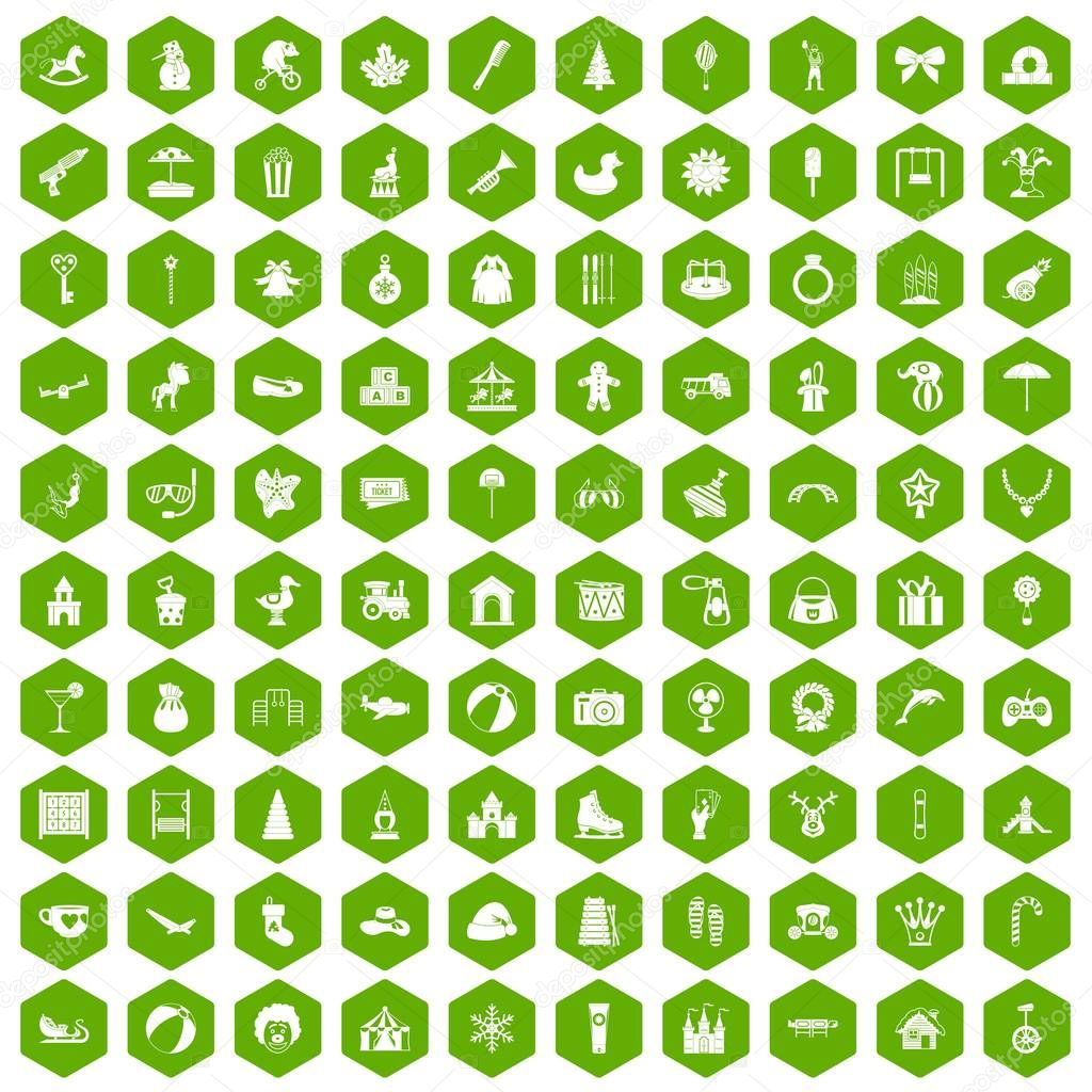 100 happy childhood icons hexagon green