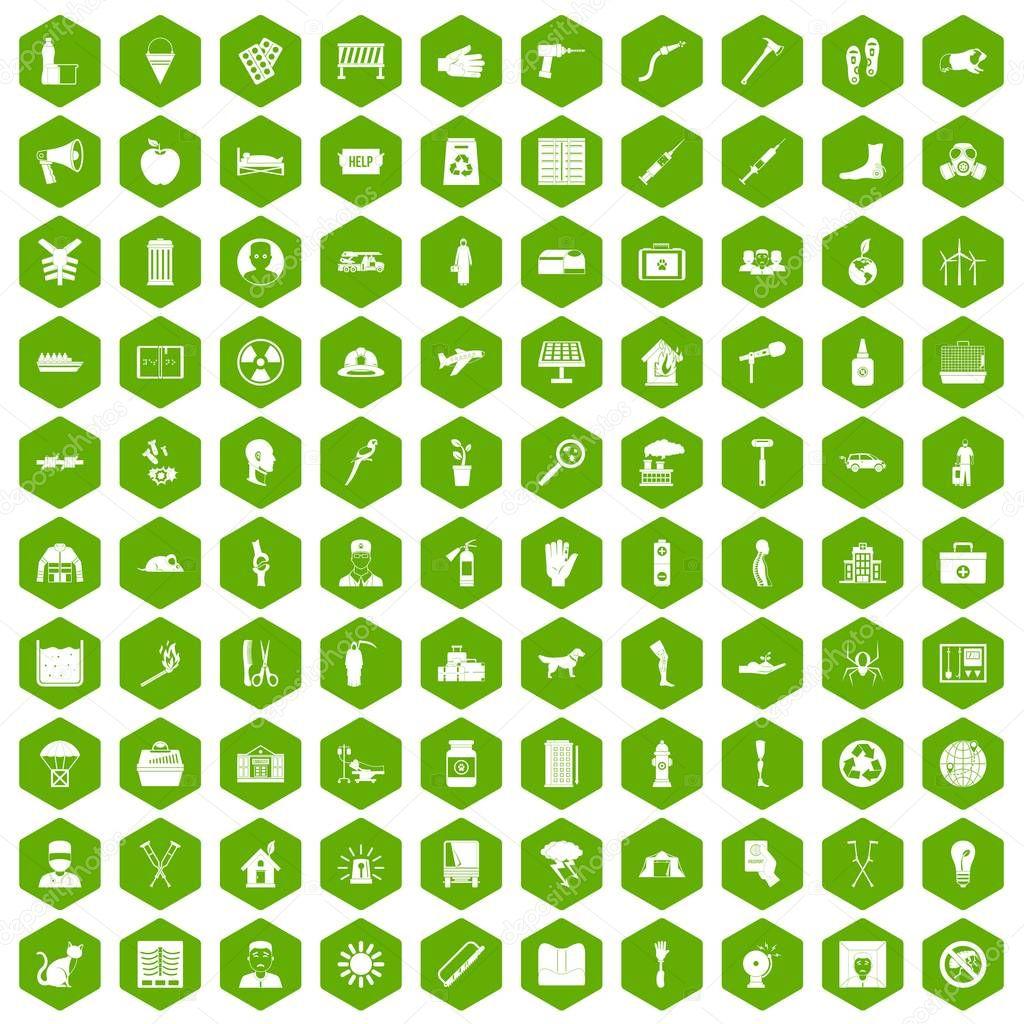 100 help icons hexagon green