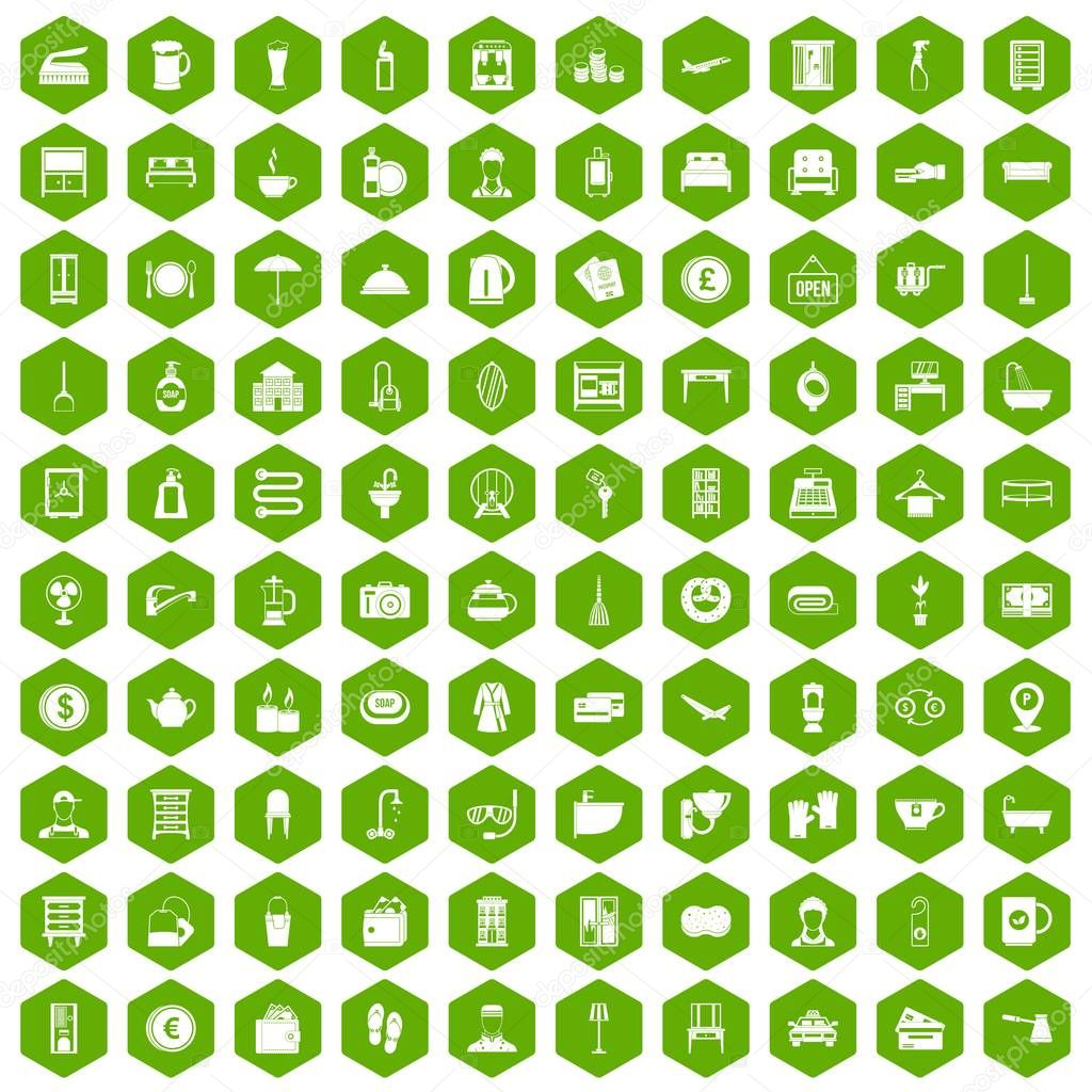 100 inn icons hexagon green