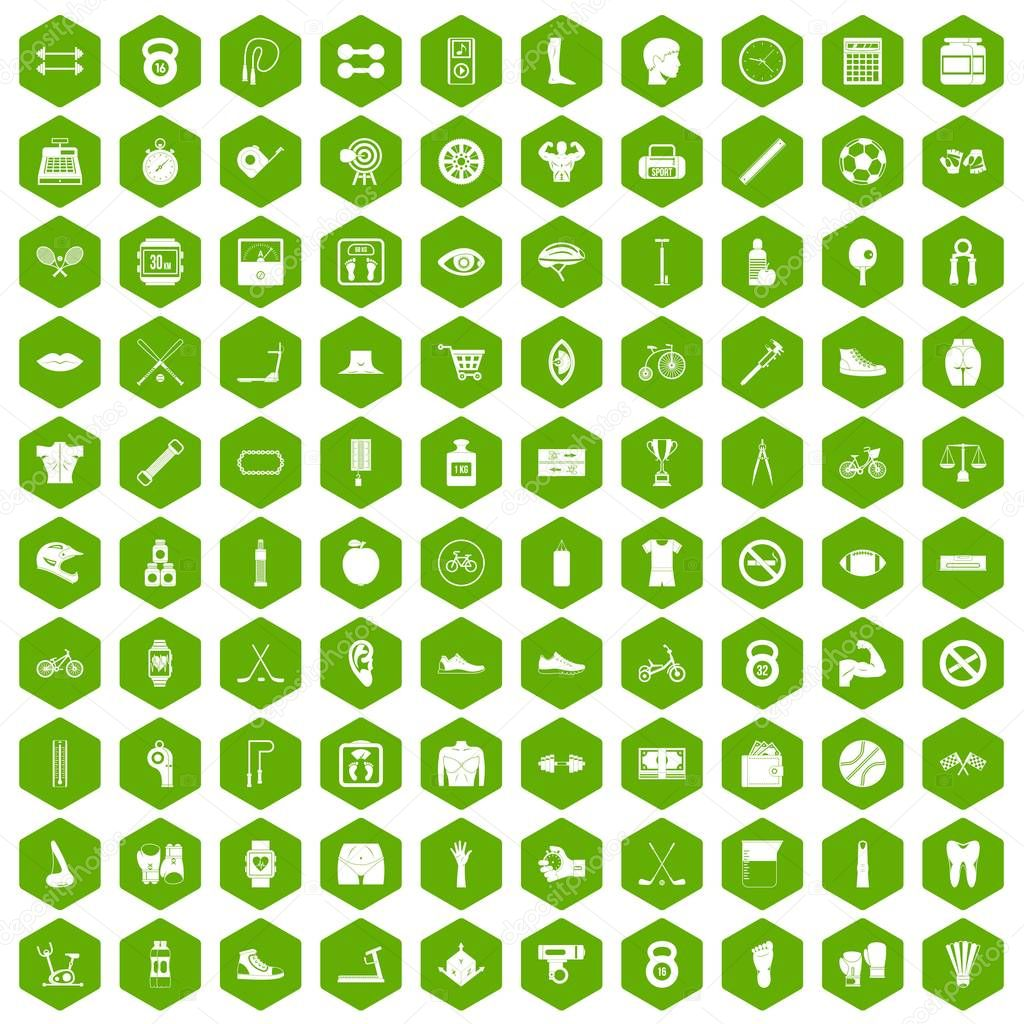 100 kettlebell icons hexagon green