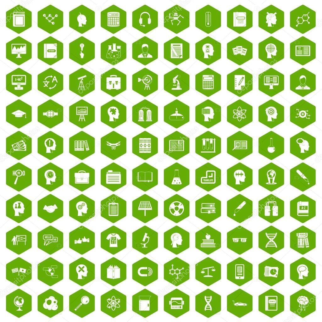 100 knowledge icons hexagon green