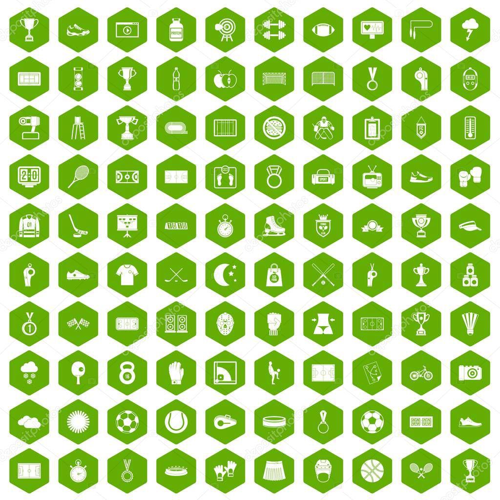 100 stadium icons hexagon green