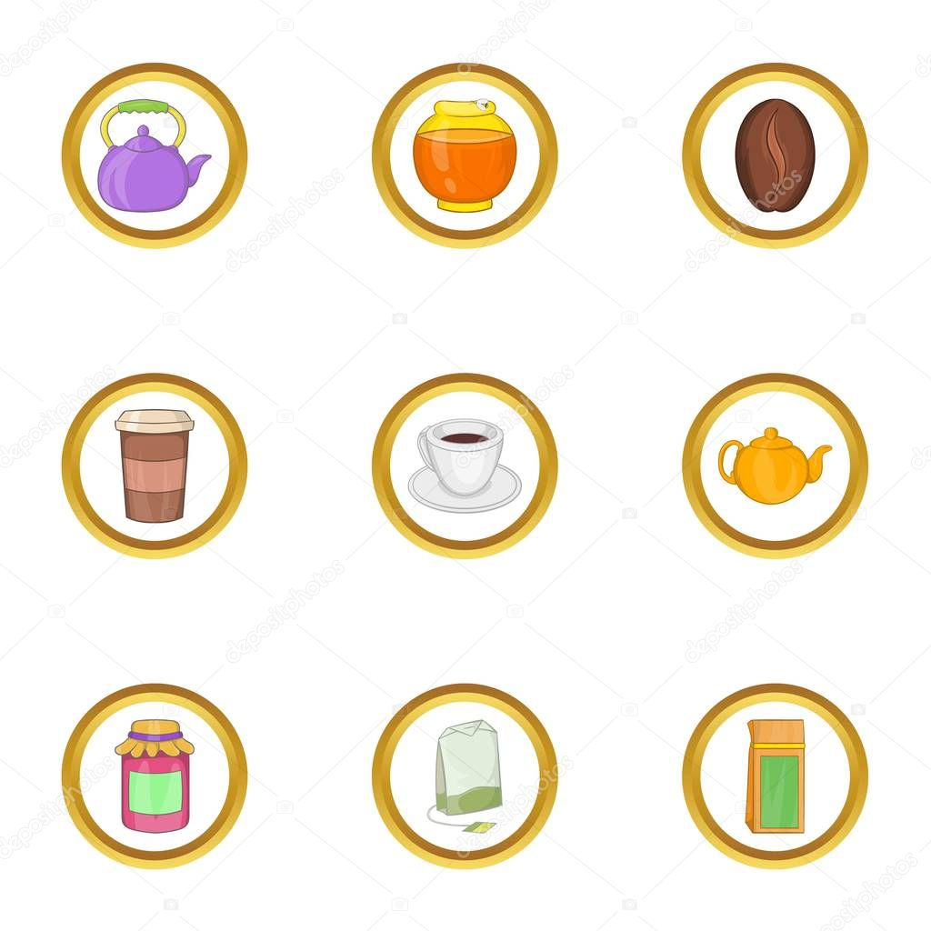 Morning drinks icon set, cartoon style