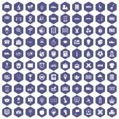 Fotografie 100 bus icons hexagon purple