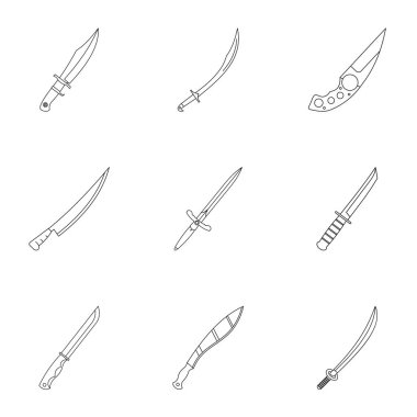 Cold steel arms icon set, outline style