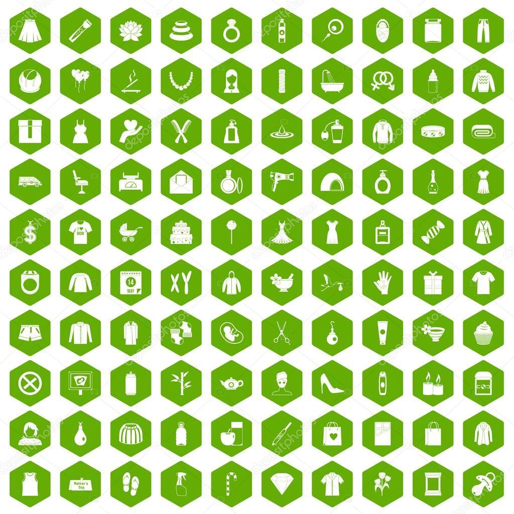 100 woman icons hexagon green