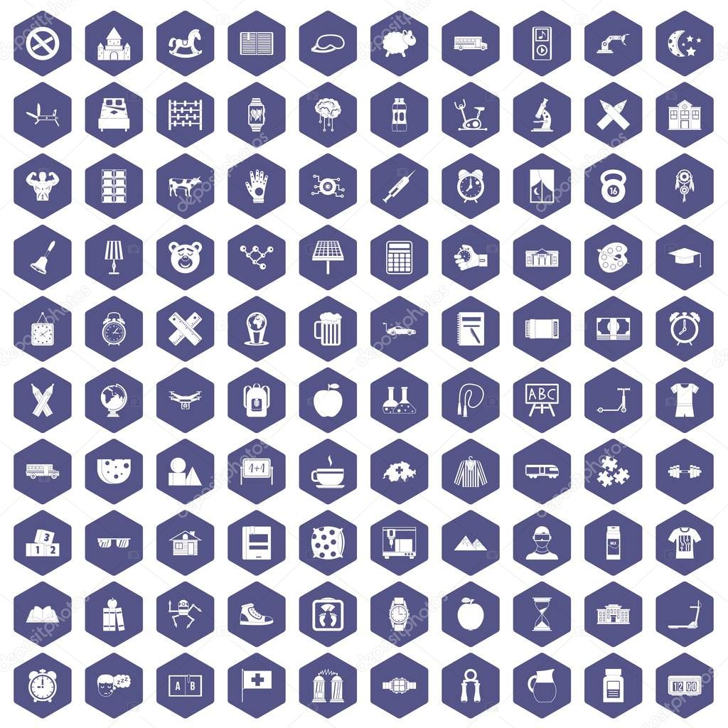 100 alarm clock icons hexagon purple