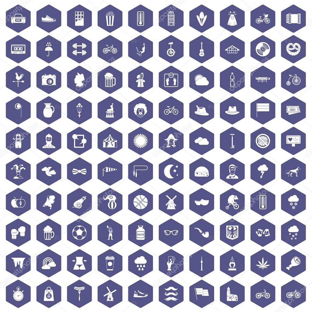 100 bicycle icons hexagon purple