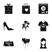Fotografie Happy mothers day icon set, simple style