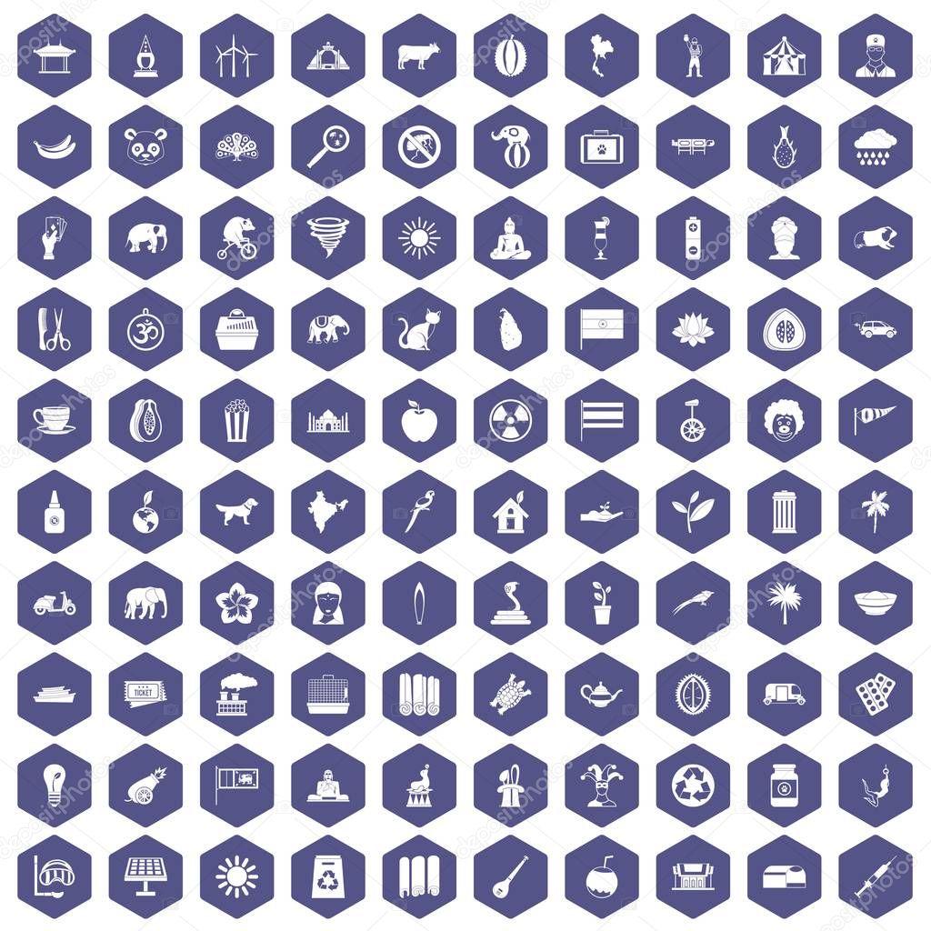 100 elephant icons hexagon purple