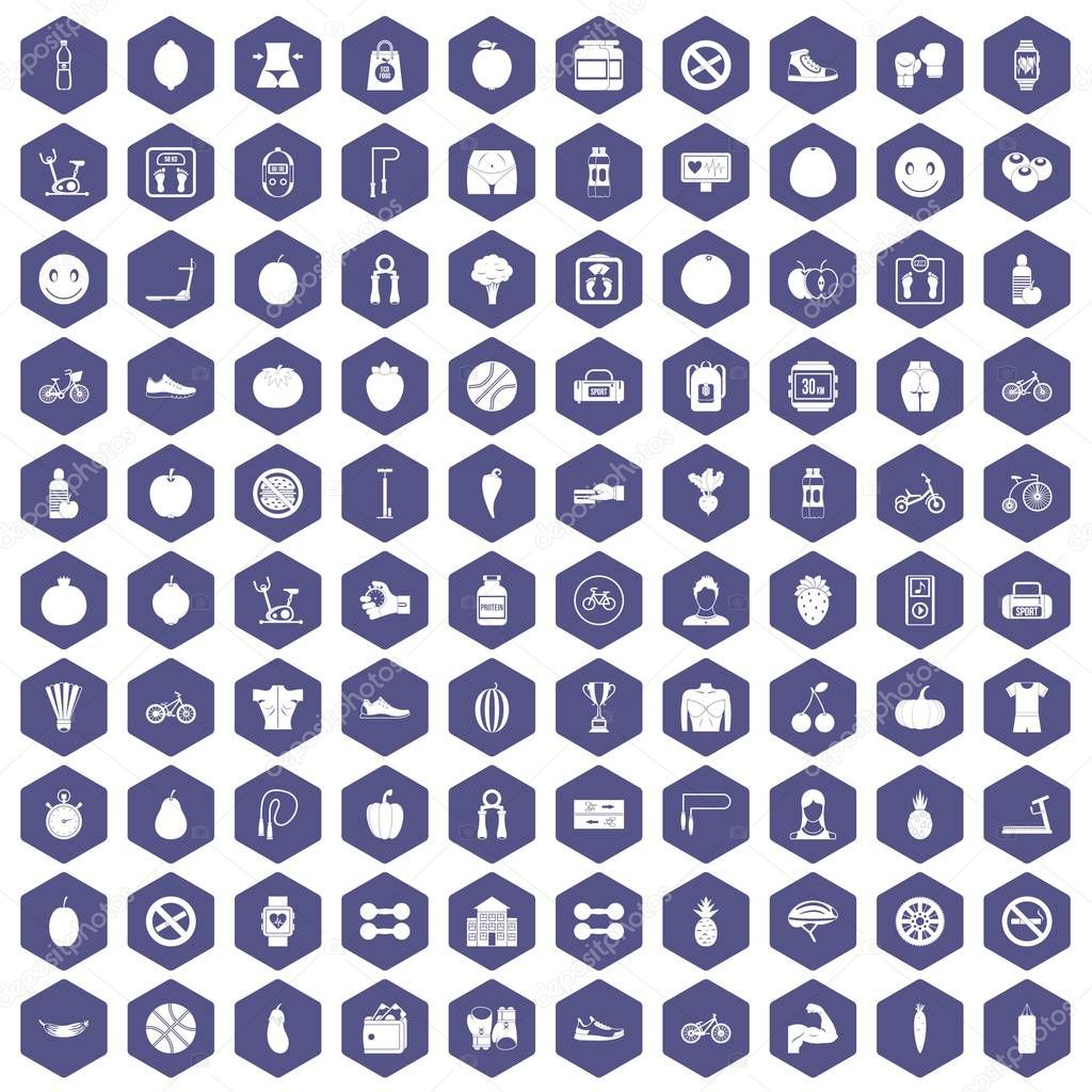 100 fitness icons hexagon purple