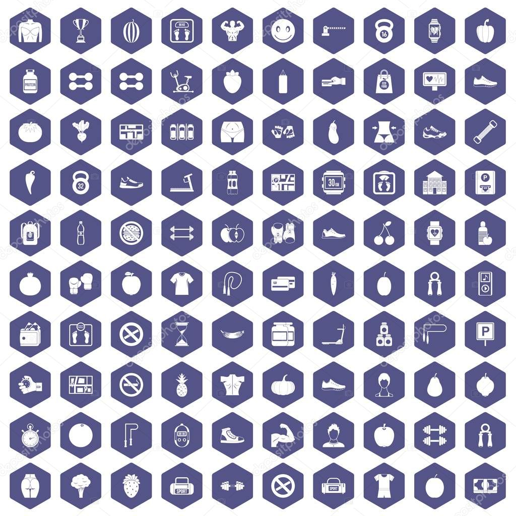 100 gym icons hexagon purple