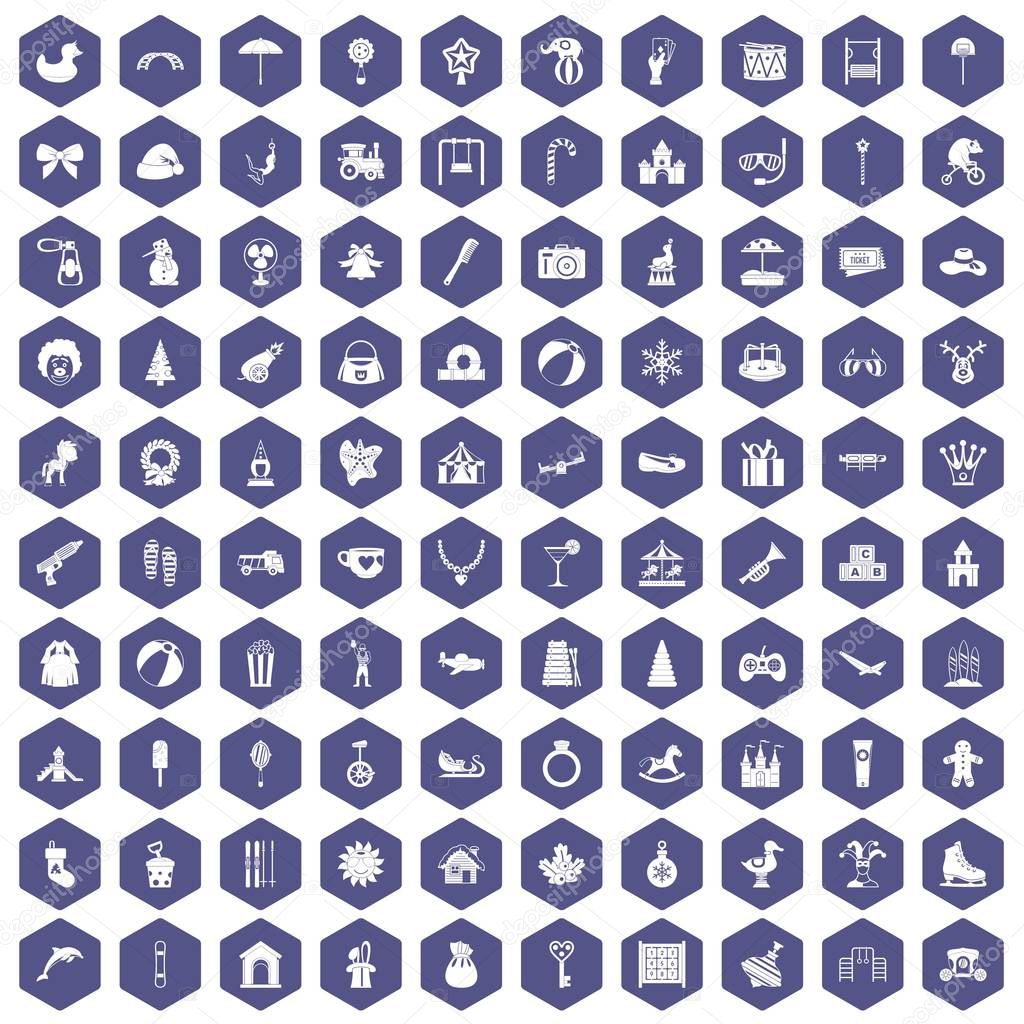 100 happy childhood icons hexagon purple