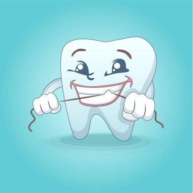 Cute smiling tooth concept background, cartoon style