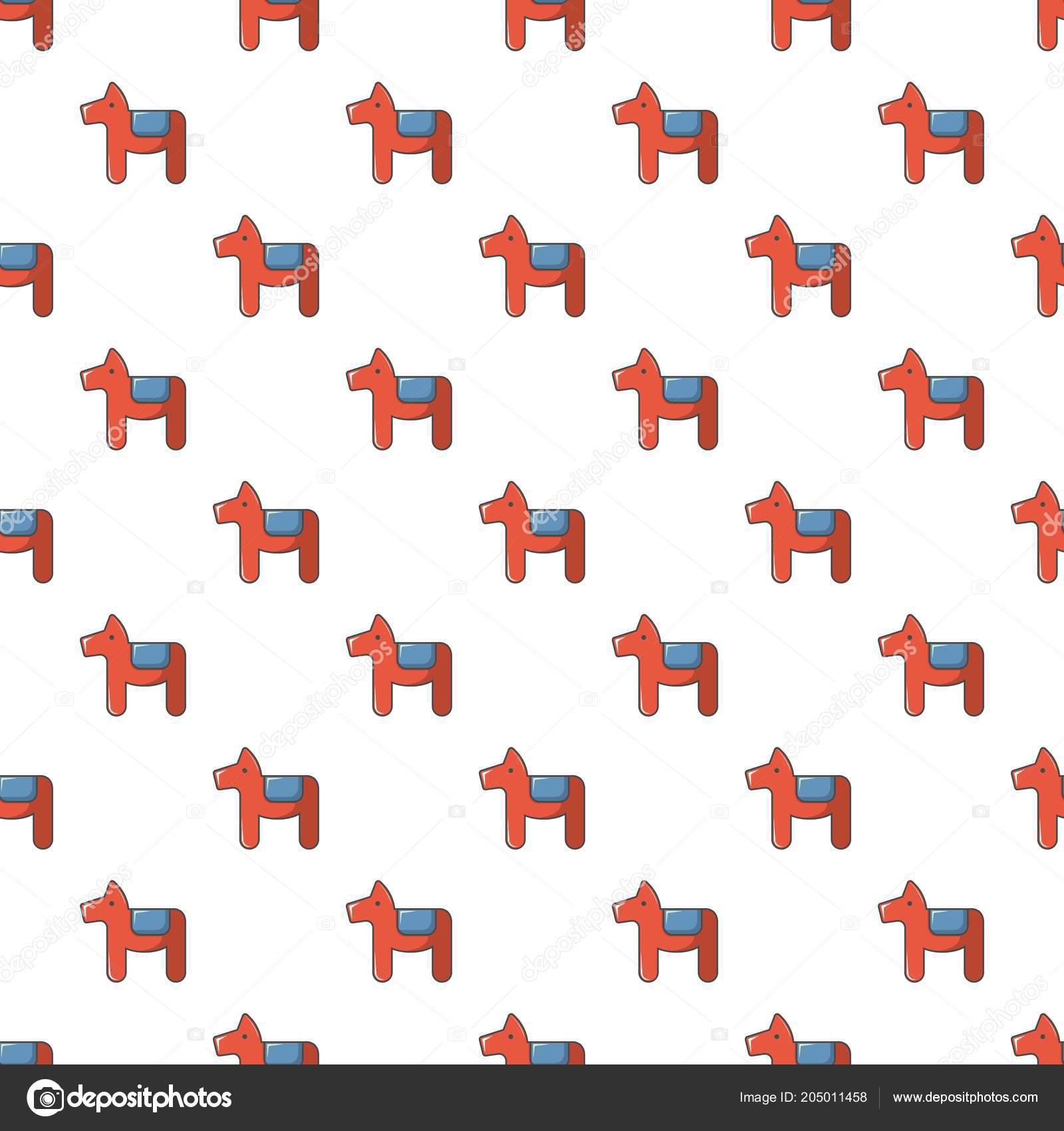 Patrón de símbolo sueco de caballo Dala sin costura — Vector de ...