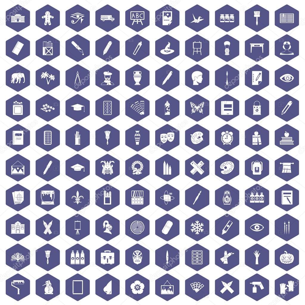 100 paint school icons hexagon purple