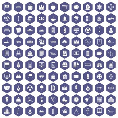 100 villa icons hexagon purple
