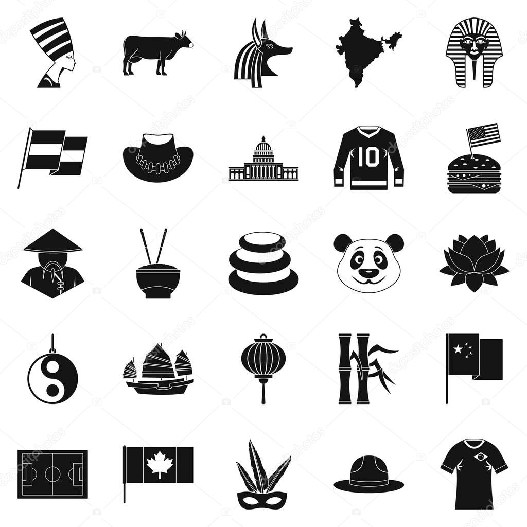 Monument icons set, simple style